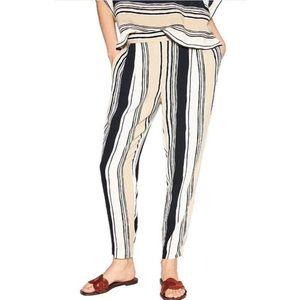 Zara Tan/Cream Striped Elastic Waist Joggers XS